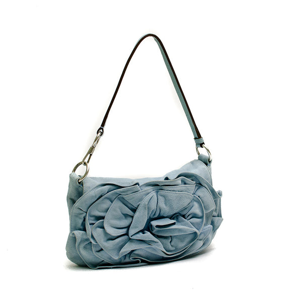 YSL Light Blue Suede Handbag With Large Ruffle Flower on Flap