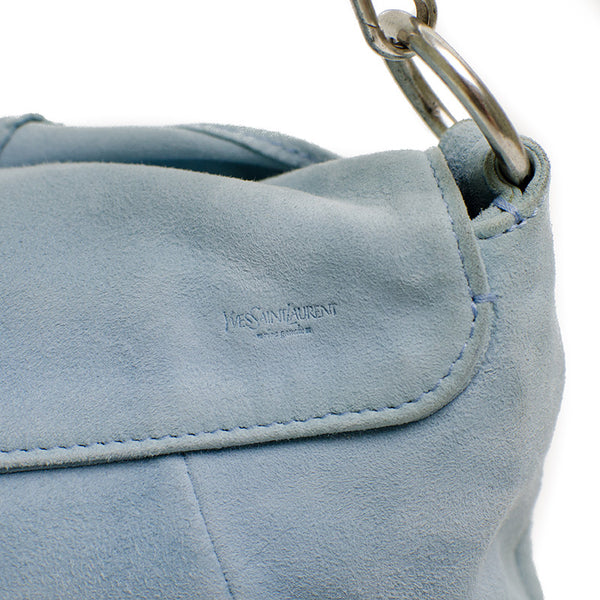 YSL Light Blue Suede Handbag with Silver Hardware