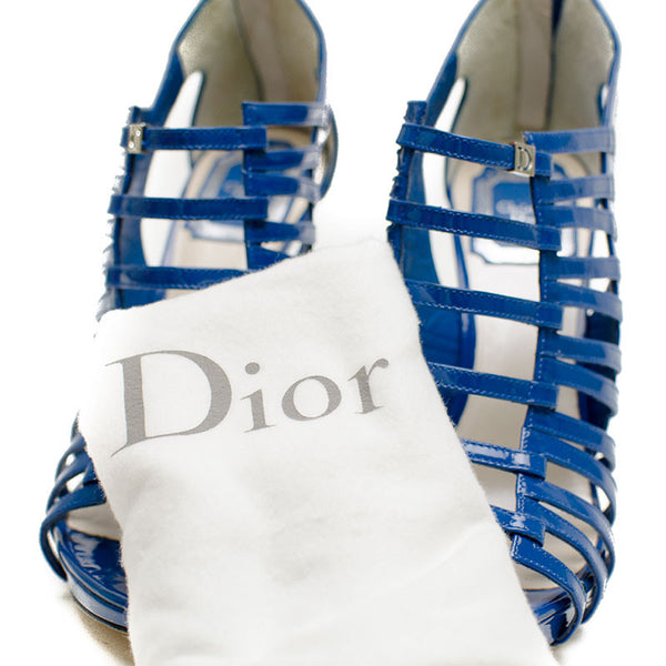 Christian Dior Blue Caged Heels With Platform with dust bag