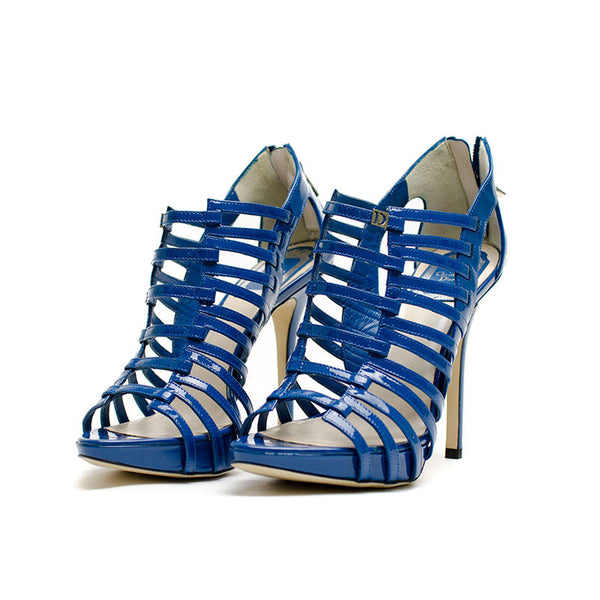 Christian Dior Blue Patent Leather Caged Heels With Platform