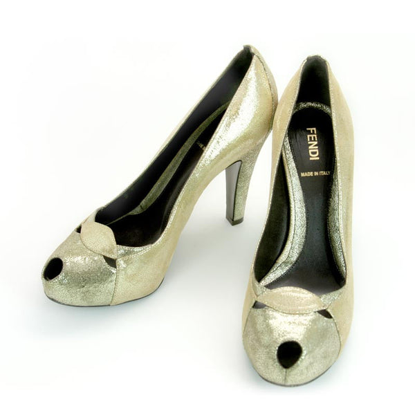 Fendi | Gold Peep Toe Pumps