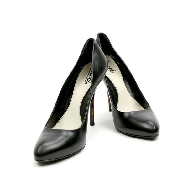 Gucci Black Leather and Tortoise Stiletto Heels Pumps Women's Sz 9.5