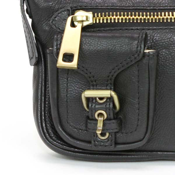 Marc Jacobs Black Leather Handbag with Two Buckle Pockets