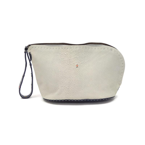 Henry Beguelin | Gray & Navy Leather Cosmetic Bag