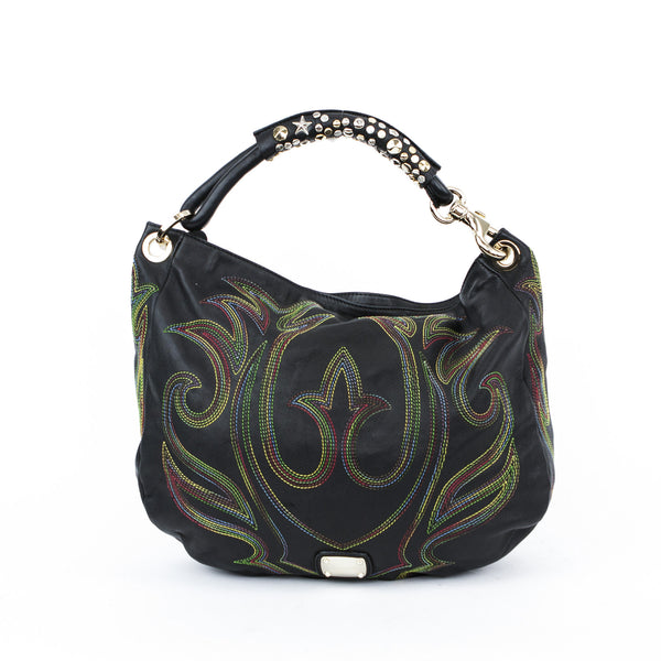 Hobo shoulder handbag from Jimmy Choo with multi colored embroidery throughout and studded handle with gold tone key clasp.
