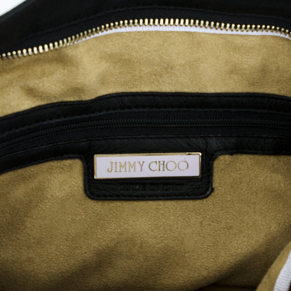 Jimmy Choo hobo handbag with brown suede lining and logo nameplate on the interior