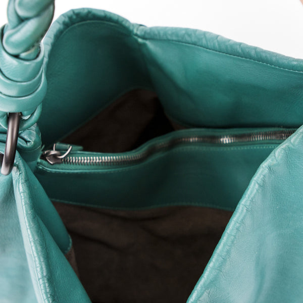 Bottega handbag with two compartments and center dividing zip pocket