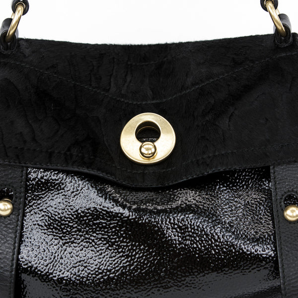 Ysl black patent leather and pony hair handbag and exterior pocket