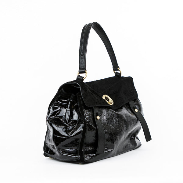 Ysl black patent leather and calf hair handbag