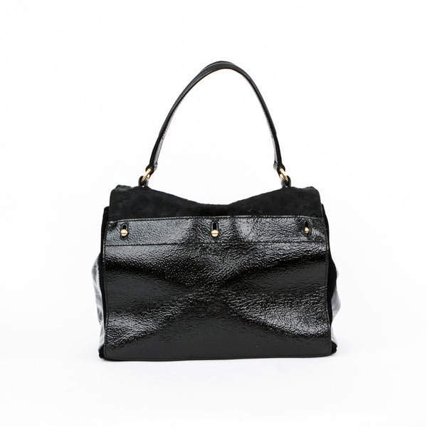 Ysl black pebbled patent leather and pony hair handbag