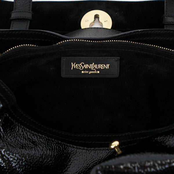 Ysl black patent leather and pony hair handbag with black suede lining
