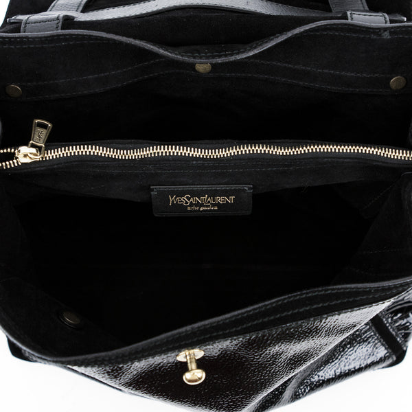 Ysl black patent leather and calf hair handbag with interior center zip pocket