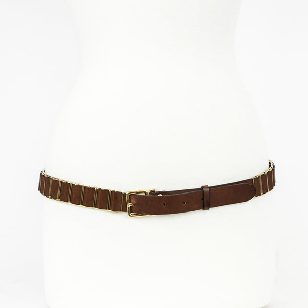 Chloe brown leather belt with the leather being ribboned through the gold tone rectangular rings.