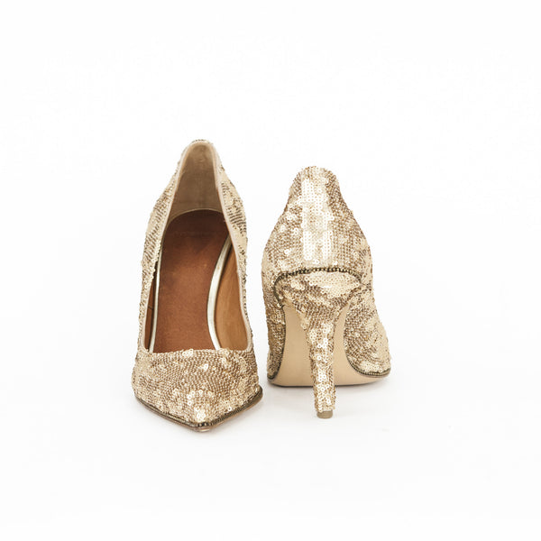 Givenchy gold sequin pumps with covered heels