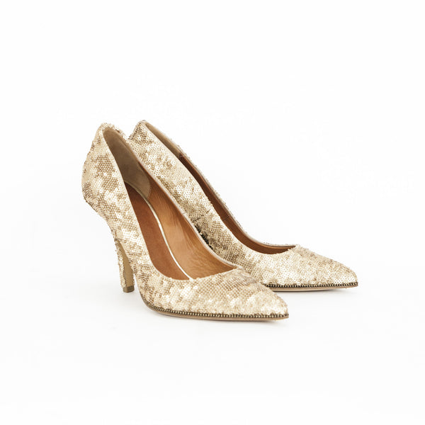Givenchy gold sequin pumps made in Italy