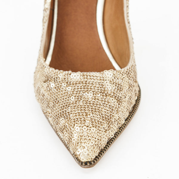 Givenchy gold sequin pumps with pointed toe