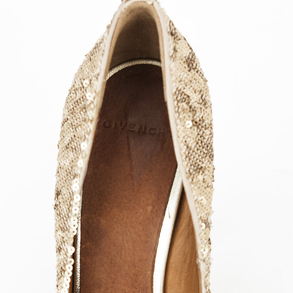 Givenchy gold sequin pumps with padded leather insoles