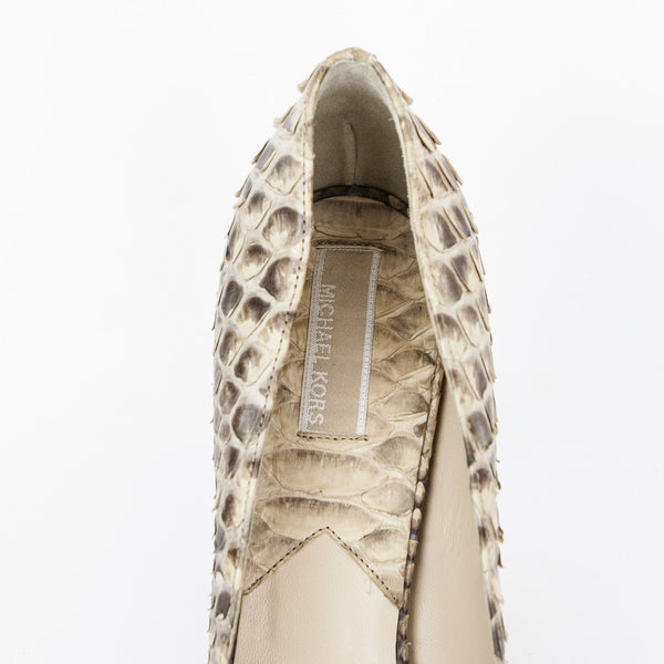 Michael Kors python high heels with designer tag on insole