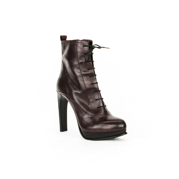 Costume National burgundy leather lace up booties