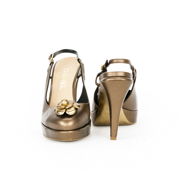 Chanel bronze Camellia slingback high heels with covered heels