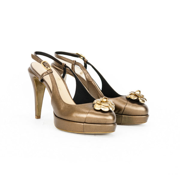 Chanel bronze Camellia slingback high heels made in Italy