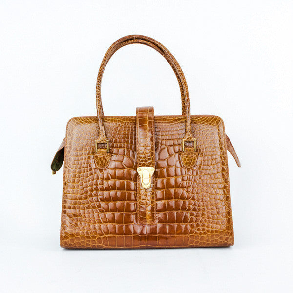 Manolo Blahnik Brown Alligator Frame Tote