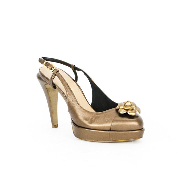 Chanel bronze Camellia slingback high heels