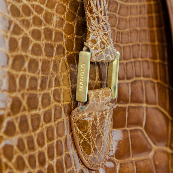 Manolo Blahnik Brown Alligator Frame Tote With Gold Hardware