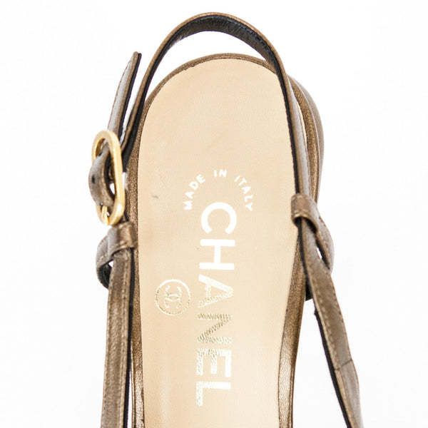 Chanel bronze Camellia slingback high heels with branded insoles