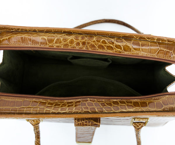 Manolo Blahnik Brown Alligator Frame Tote With A Green Suede Interior