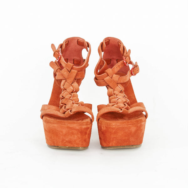 Casadei orange suede wedges size 7