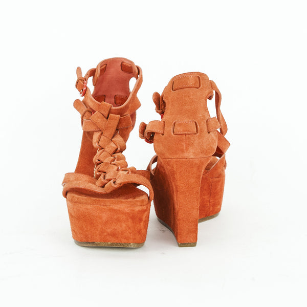 Casadei orange suede wedges with woven band