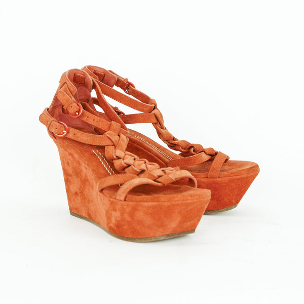 Casadei orange suede wedges made in Italy