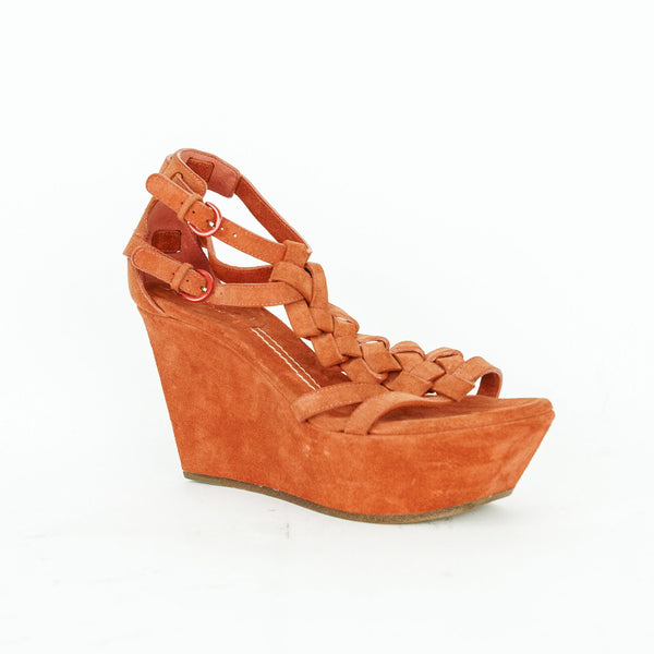Casadei orange suede wedges