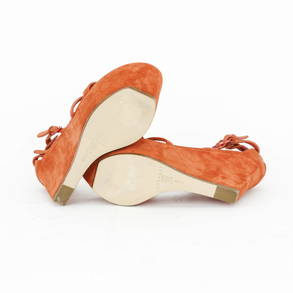 Casadei orange suede high wedges