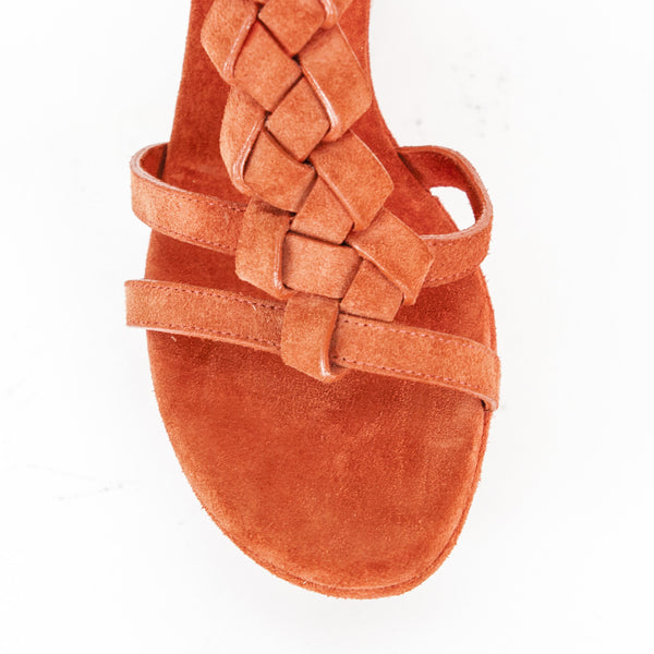 Casadei orange rounded open toe suede wedges