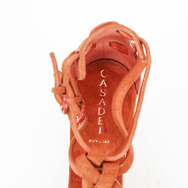 Casadei orange suede wedges with branded insoles