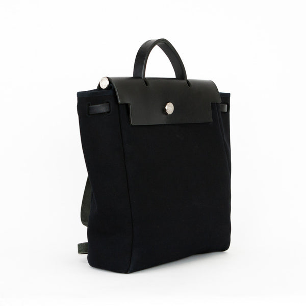 Hermes Herbag Ado 2 in 1 Black Canvas Leather Backpack Bag