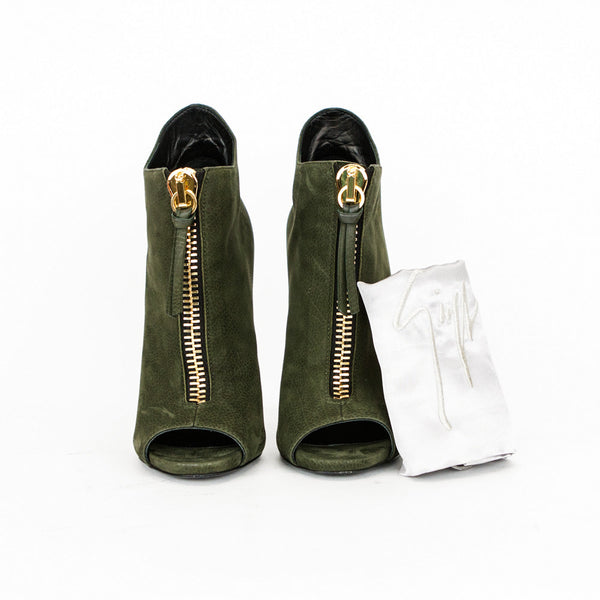 Giuseppe olive green high heel ankle booties with dust bag