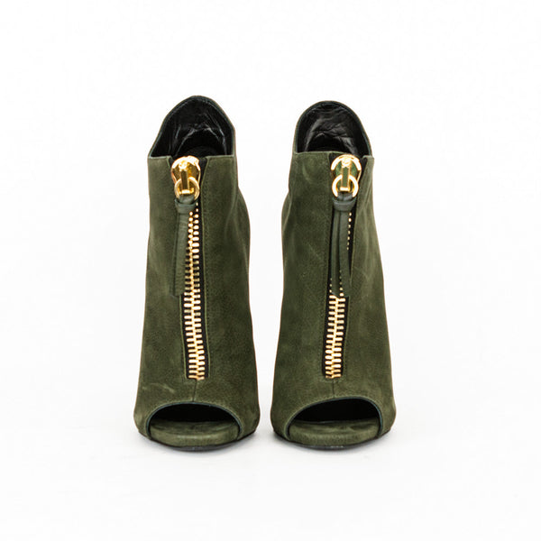 Giuseppe olive green high heel ankle booties made in Italy