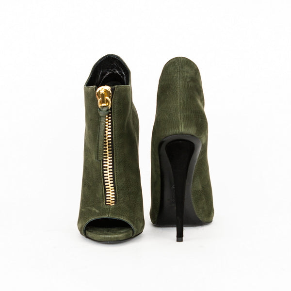Giuseppe olive green high heel ankle booties with cone heels