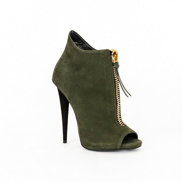 Giuseppe olive green high heel ankle booties