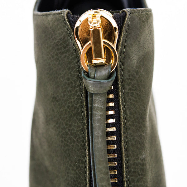 Giuseppe olive green high heel ankle booties with tassel zipper pull
