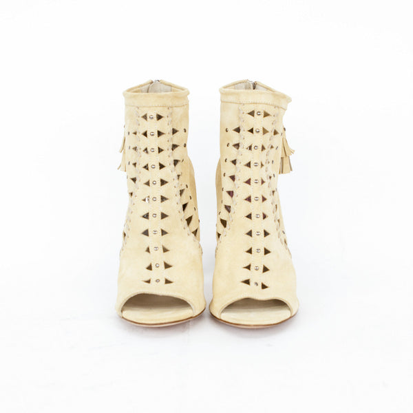 Jimmy Choo beige suede Zen cut out booties with peep toe