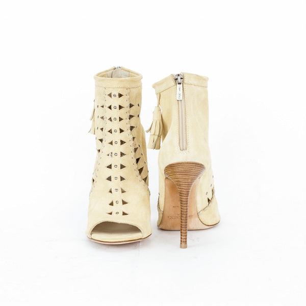 Jimmy Choo beige suede Zen cut out booties with wooden heels