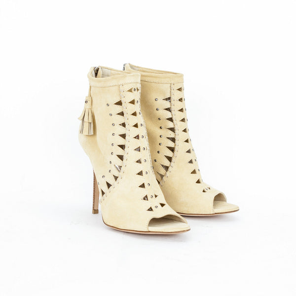 Jimmy Choo beige suede Zen cut out booties made in Italy