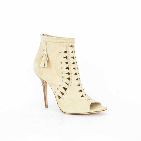 Jimmy Choo beige suede Zen cut out booties
