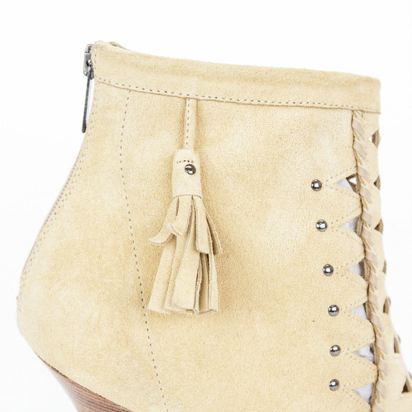 Jimmy Choo beige suede Zen cut out booties with tassel on the sides