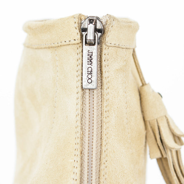 Jimmy Choo beige suede Zen cut out booties with back zipper