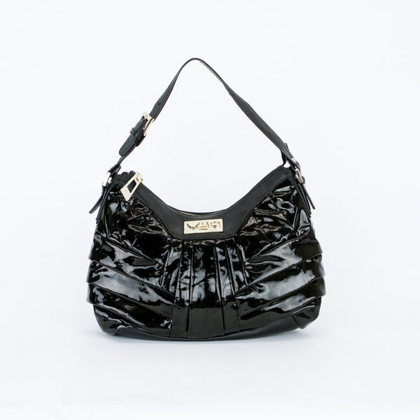 Versace Black Patent Leather Shoulder Handbag